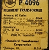 Picture of Chicago Transformer Company P-4096 Filament Transformer